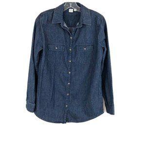 BP Dark Wash Denim Button Up Shirt Long Sleeve S